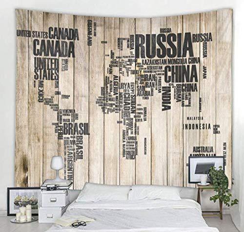 Planche De Bois Carte Feuilles Imprimé Grande Tapisserie Murale Pas Cher Tenture murale Bohemian Tapisseries Murales Mandala Mur Art Décor 150X200 Cm