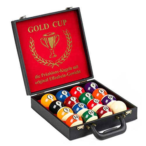 Automaten Hoffmann Turnier-Billardkugeln Gold Cup | Profi-Billardkugeln Set im Koffer | Perfekte Spieleigenschaften | Offizieller Durchmesser: 57,2 mm | aus hochwertigem Phenolharz