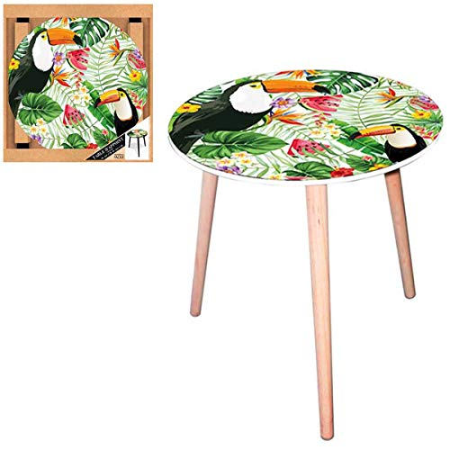 Les Trésors De Lily [Q5149 - Table Ronde résine 'Tropical' Vert Multicolore (Toucan) - 40 cm