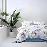 MILDLY Duvet Cover Set Queen Size Soft Cotton Original Design Floral Botanical Printed Pattern 3 Pieces Bedding Set, Aesop