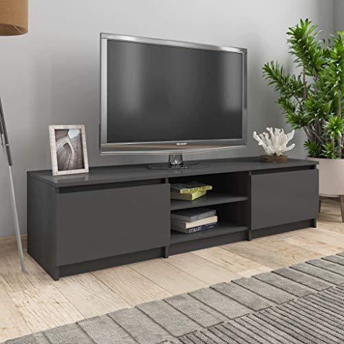 UnfadeMemory Mueble para TV Moderno,Mesa para TV,Mueble de hogar,con 2 Cajones y 2 Compartimentos Abiertos,Estilo Clásico,Madera Aglomerada (Gris Brillante, 140x40x35,5cm)