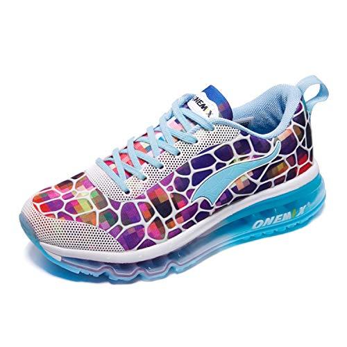 ONEMIX Damen Turnschuhe Leichtgewichts Atmungsaktiv Sportschuhe Straßenlaufschuhe Sneaker für Fitness im Freien 1096 Colorful 36