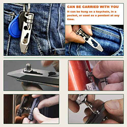 Titanium EDC Multitool Pry Bar Bottle Opener Screwdriver Wrench Tool EDC Gear Keychain Tools (Black)