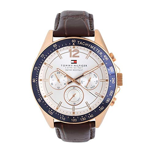 Tommy Hilfiger Chronograph Men's Watch (White Dial Brown Colored Strap)