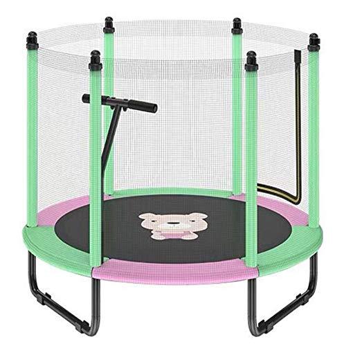 FSGD Kinder Trampolin, Durchmesser 150cm Spaß- und Fitnesstrampolin für Kinder ab 3 Jahren, für die Nutzung als Zimmertrampolin besonders gesichert mit Netz,Grün,1.5M+armrest