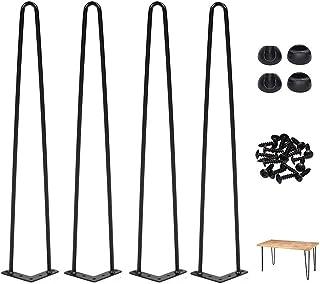 juego de 4 estilo industrial de mediados de siglo Patas de metal para mesa con acabado negro satinado 28 pulgadas patas de mesa de metal resistente