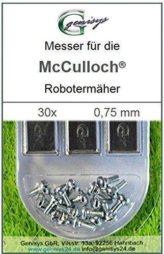 30 Messer Ersatzmesser Ersatz-Klingen 0,75mm für McCulloch Rob R600 R1000 Mc Culloch