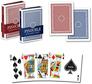 Pinochle Playing Cards (Pack of 12), Red/Blue