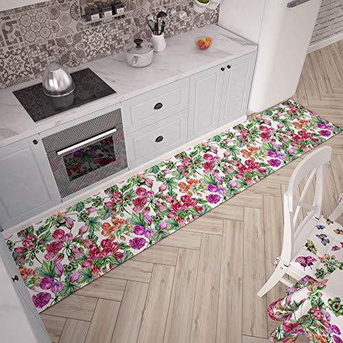 PETTI Artigiani Italiani Passatoia per Cucina, Multicolore (Fiori), 52x240 cm