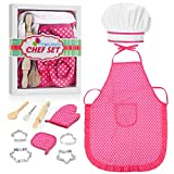 Tesoky Kids Cooking Set, 11 Pcs Birthday Gifts for 3-6 Year Old Girls Chef Role Play Includes Apron...
