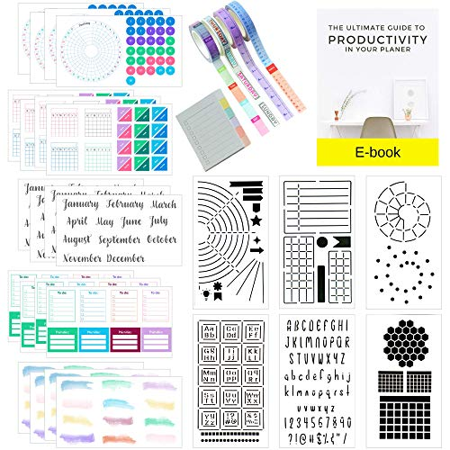 Ultimate Productivity Journal Supplies Kit - 31 Piece Set, Custom-Designed Supplies for Bullet Dotted Journals, Includes Stickers, Stencils, Washi Tapes and Sticky Notes by Sunny Streak