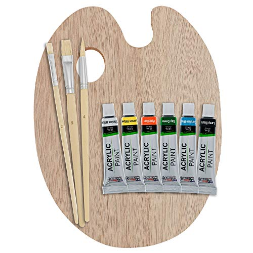 U.S. Art Supply Artist Wood Painting Palette with 6-Piece Acrylic Paint Tube Set & 3-Piece Brush Set