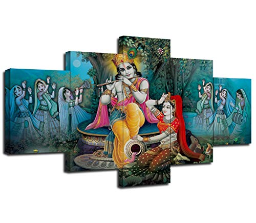 Artbrush Tower Radha Krishna Canvas Art Wall Paintings Home Decor Radha Krishna Pictures 5 Pieces Framed Poster Wall Decoration Ready to Hang(60''Wx32''H)