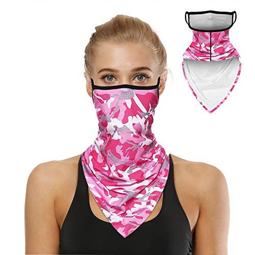 Bandana Face Mask for Men Women, Neck Gaiter Ear loops Rave Face Covering Scarf, Camo Pink