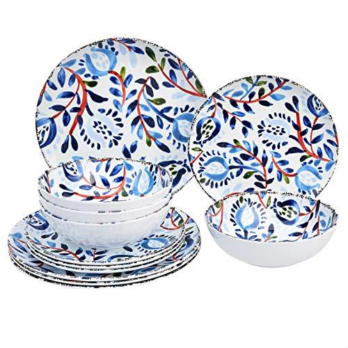 Amazon Basics 12-Piece Melamine Dinnerware Set - Service for 4, Watercolor Floral