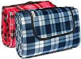 Signature <span class='highlight'>Leisure</span> Blue/White Tartan Check Large 150x180cm Fleece Picnic Blanket with Waterproof Backing and Carry Handle - Lightweight Compact Picnic Travel Rug - Child Play Mat