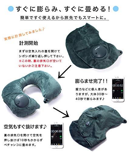PICTETFINOエアーネックピロー旅行首枕手動ポンプ式インフレータブル(エメラルド)