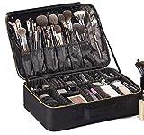 ROWNYEON Makeup Bag Cosmetic Makeup Train Case Artist Makeup Organizer Professional Portable Storage Bag for Women Girl Waterproof EVA Adjustable Dividers Large Black
