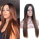 ZanaWigs peluca de pelo humano sin pegamento, red frontal, sedosa, lisa con dos tonos, color degradado, pelucas brasileñas para mujeres negras