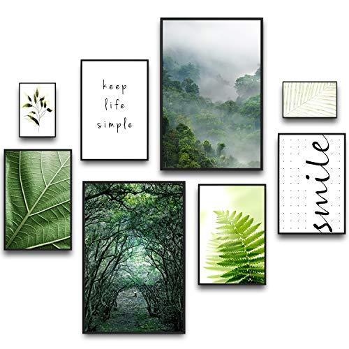 murando Poster 8er-Set Bilder Kunstdruck Posterset Plakat Wandbild Print Kunstposter Wandposter Wandbild Wohnung Wanddeko Design Wald Nebel Tropische Blätter Natur Smile grün