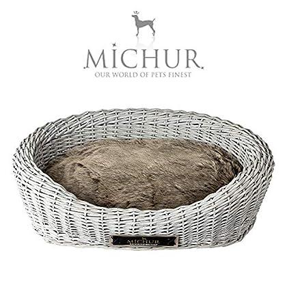 Michur Roxanne, (ca.): 90x70x25cm Einstieg: 14 cm (Kissen 75x56 cm), Hundebett / Hundekorb Weide Grau. Das Modell Roxanne ist aus Weide – geflecht gefertigt. Zu jedem Körbchen wird ein Kissen geliefert. Michur Körbchen aus Weide für Hunde und Katzen,...