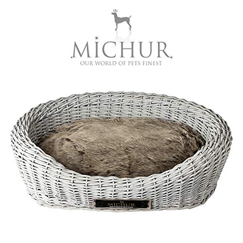 Michur Roxanne Hundebett Katzenbett Hundekorb Rattan Grau Hundesofa Hundekörbchen aus WEIDE Rattan Grau, hundekörbchen für mittelgrosse Hunde in verschiedenen Größen erhältlich!