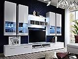 KRYSPOL Wohnwand ALFA II Anbauwand, Wohnzimmer-Set, Modern Design (Weiß/Weiß Hochglanz + Weiß...
