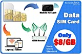 4G LTE Data Only SIM Card – USA Nationwide Domestic and International Roaming – Choose from 1GB 2GB 3GB – 30 Days...