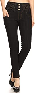 Jvini Women's High Waist Super Soft Stretch Skinny Knit Denim Leggings Plus Size