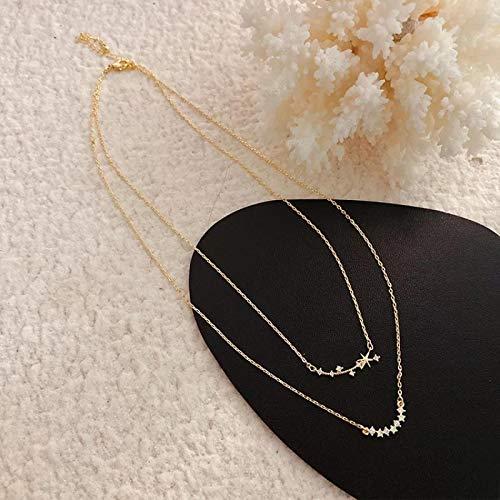 Collar 14K Chapado En Oro Joyería Fina Mujeres Hadas Collares De Doble Cadena para Mujer Estrella Luna Colgante Mamá Regalos Estrellas