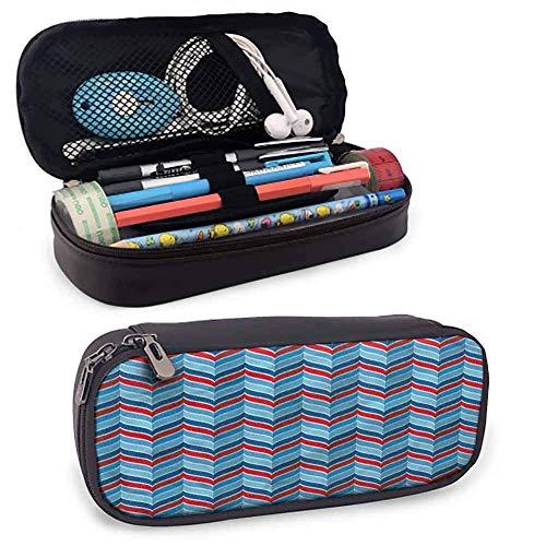 KLKLK Mäppchen Chevron Pencil Cases for Teen Girls 3D Style Blue Herringbone Multi-Pattern Pencil Bag Protective Stationery