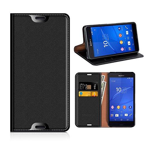 MOBESV Sony Xperia Z3 Compact Hülle Leder, Sony Xperia Z3 Compact Tasche Lederhülle/Wallet Hülle/Ledertasche Handyhülle/Schutzhülle mit Kartenfach für Sony Xperia Z3 Compact - Schwarz