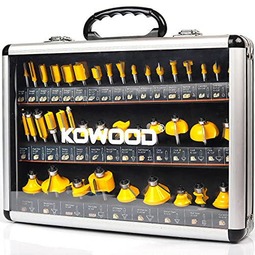 KOWOOD Router Bits Set of 40 Pieces, 1/4 Inch Shank, 40A Expert Router Bit Kit.