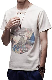 LUKEEXIN Summer Youth Men's Wear Cotton and Linen Printed Round Neck Short Sleeve Men's Size T-shirt