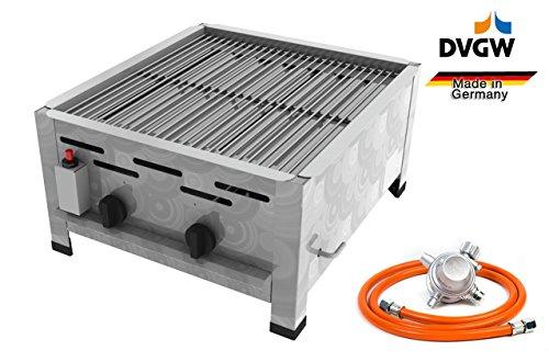 Gastro Edelstahl Gasbräter 2 flammig 9,0 KW mit Grillrost f. Propangas + Gasschlauch, Gewerberegler + SBS (Kocher - Wurstbräter, Gasgrill Gastrokocher, Gasherd, Bräter, Gril)