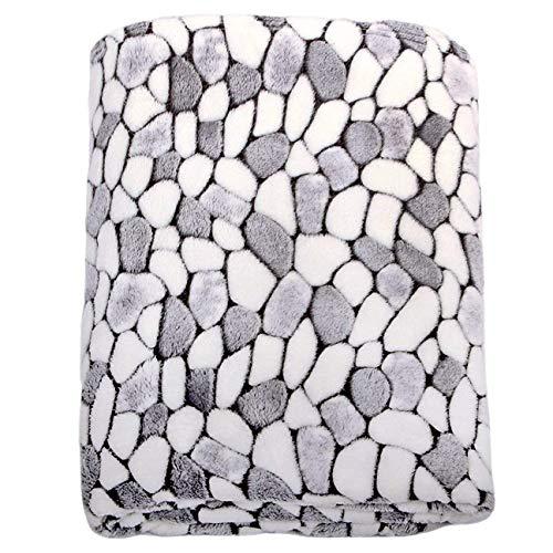 Kuscheldecke Stone GRAU Weiss, Microfaser Fleece-Decke, 150x200 cm, flauschig weiche Wohndecke für Erwachsene und Kinder