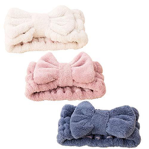 3 PCS Bowknot Pelo Bandas,Diadema de Maquillaje Elástica Bowknot Pelo Banda Lana de Coral Diseño Lindo Diadema para Ducha, Spa, Yoga, Belleza Facial (Azul Rosa Blanco)