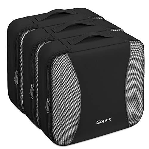 Gonex – 3 Packs Organizador para Maletas/Viaje Bolsas de Embalaje/Almacenaje Ultraligeros Multifuncionales Rip-Stop de Nylon Negro