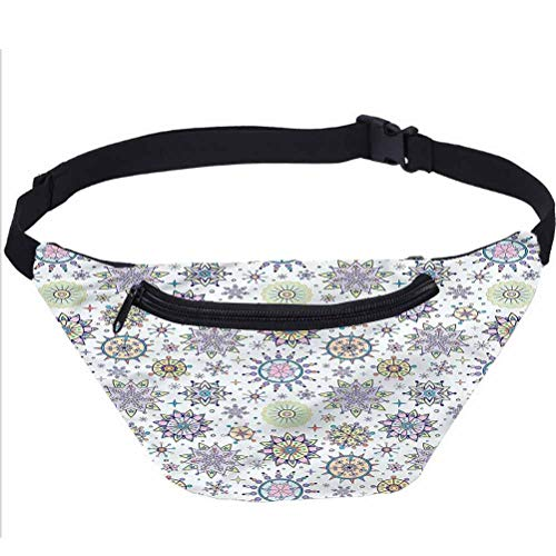 Winter Travel Fanny Bag,Pastel Floral Blizzard Waist Pack for Adult Coworker