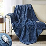 Hyde Lane Premium Faux Fur Heated Throw Blanket| Soft Electric Blanket | Blue, 50x60 Inch Brushed Underside | Silky Fuzzy and Pilling Resistant | 3 Heat Settings | Auto-Shutoff | Machine-Washable