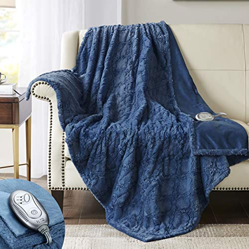 Hyde Lane Faux Fur Electric Blanket Throw | Premium Soft Heated Blankets | Blue, 50x60 Inch | Fuzzy,...