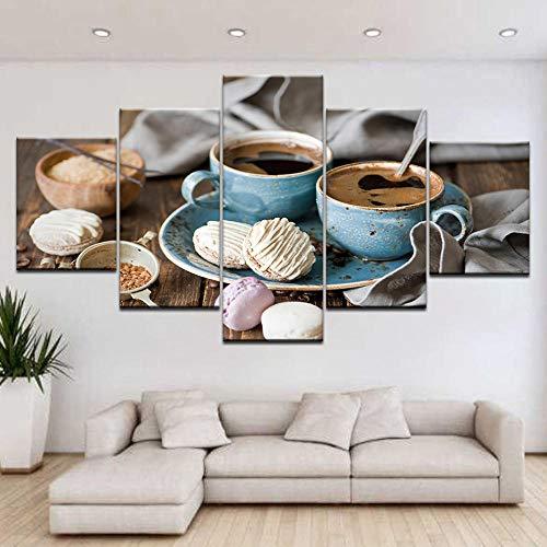 Afdrukken Op Canvas Kunstdruk Op Canvas Hd-Afbeeldingen Frameloze Koffie Brood Abstract Schilderij Huis Wanddecoratie Schilderij Kunst Schilderij