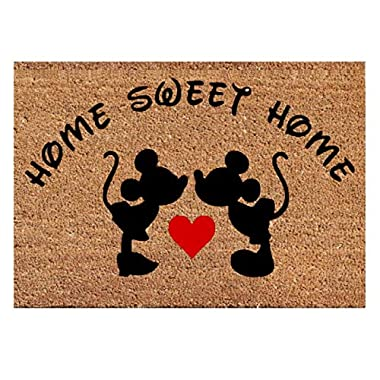 Mickey Mouse Kissing Heart Funny Doormat Decor Home Sweet Home Best Door Welcome Mat New House - Wedding Valentine Birthday