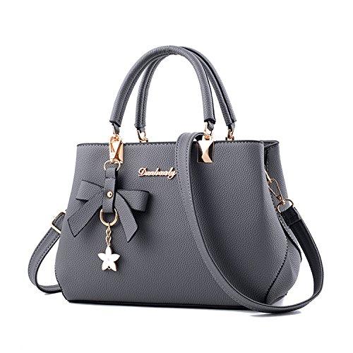 Hiigoo Women Purses PU Leather Handbags Zipper Tote Bags Messenger Bag (Grey)