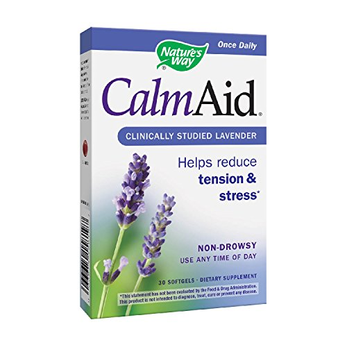 Natures Way CalmAid nondrowsy clinically studied easytoswallow glutenfree softgels, Lavender, 30 Count