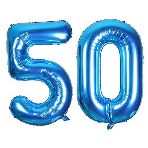 Giant Blue Foil Number 50 Balloons