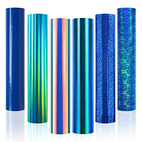 Holographic Opal Blue & Green Adhesive Craft Vinyl 12 Inches X 12 Inches 6sheets for Cricut, Craft Cutters, Silhouette Cameo & Crafting Machines,Blue Adhesive Decal Sheets