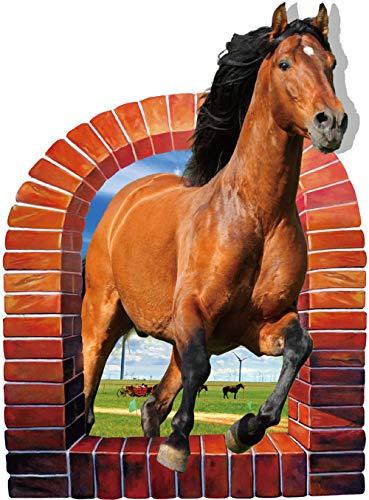 GLEDO - Adhesivo decorativo 3D para pared con diseño de caballo, para dormitorio, salón, cuarto de baño, decoración de estudio; autoadhesivo resistente al agua (60 x 90 cm)