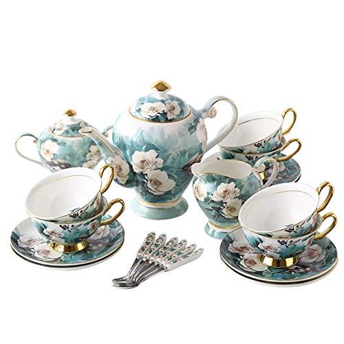 21PCS Stile Europeo Bone China tazza di caffè e piattino Set Piccola tazza di caffè Ceramica Set Garland Afternoon Tea Cup (Color : Green)