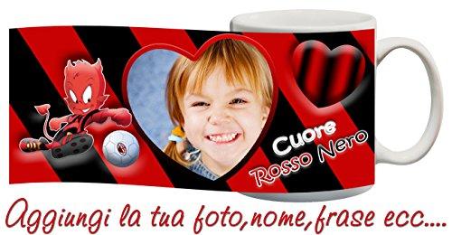 csm Informatica Tazza Milan Cuore Rossonero Personalizzata con Nome,Frase,Foto ECC Idea Regalo